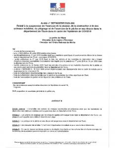 20-060-Arrêté relatif à la suspension de l'exercice de la chasse, de la destruction à tir des animaux nuisibles, du piégeage et de la pêche en eau douce dans le département de l'Eure