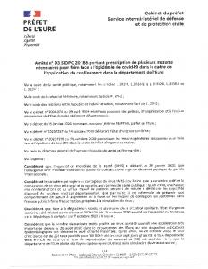 Arrêté portant plusieurs mesures-EURE1 novembre 2020