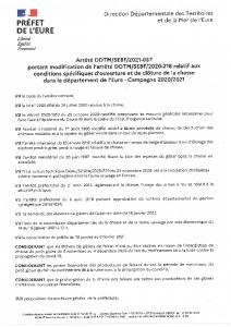 21-037_AP modifiant arrêté relatif à l'ouverture et clôture de la chasse 2020-2021